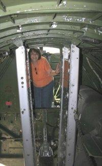 Pauline inside a B-17