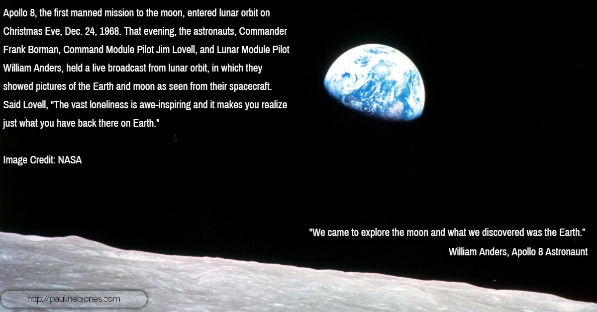 Earthrise from the moon, 1965